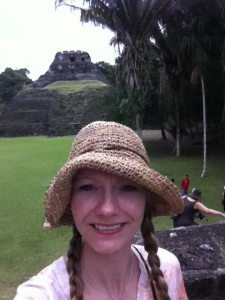The palace at Xunantunich is behind me.